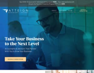 After screenshot of Atteign Accountants and Advisors's website.