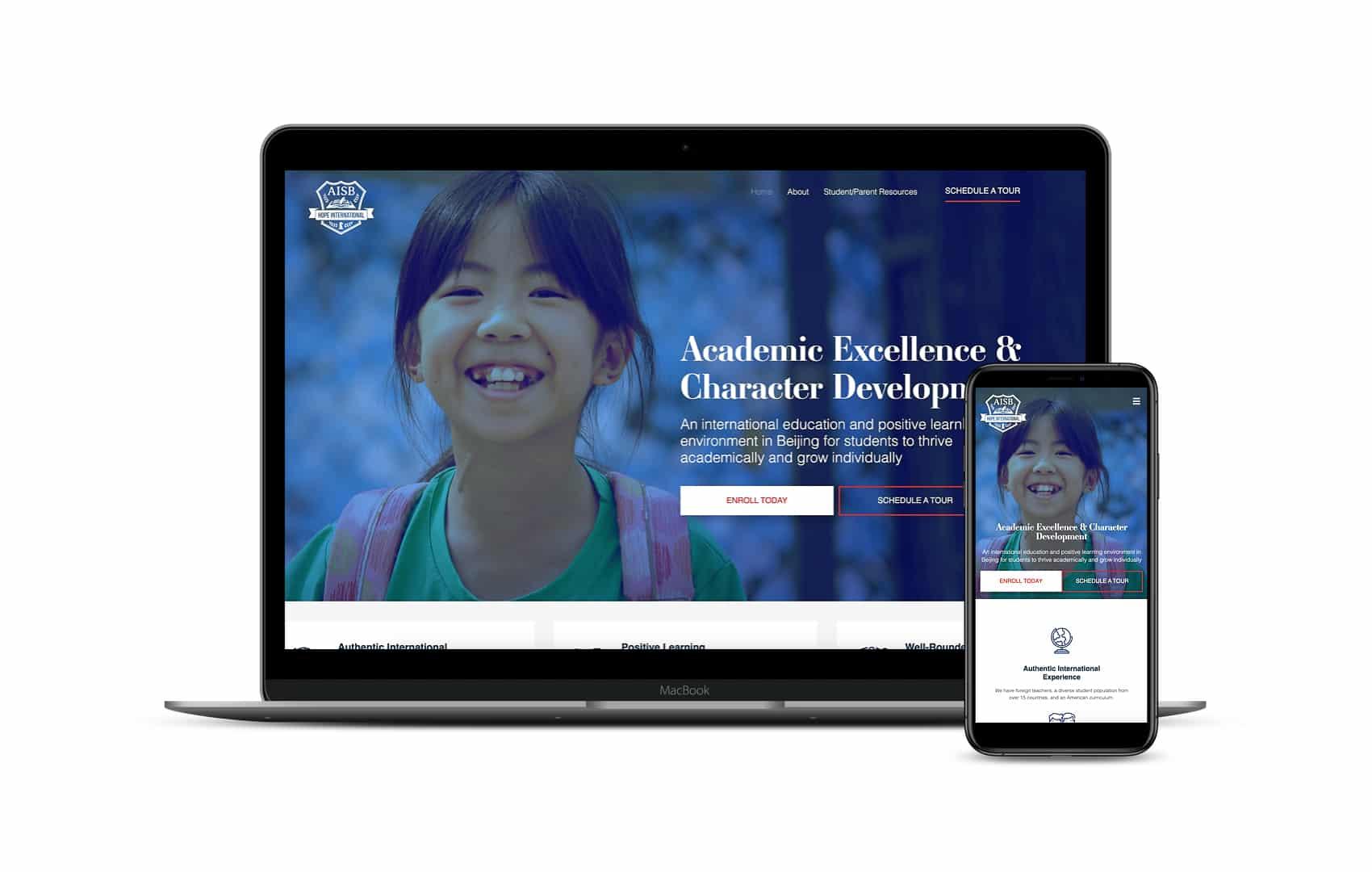 Screenshot of Hope International School's homepage displayed on desktop and mobile screens. This Storybrand website cost around $12k.
