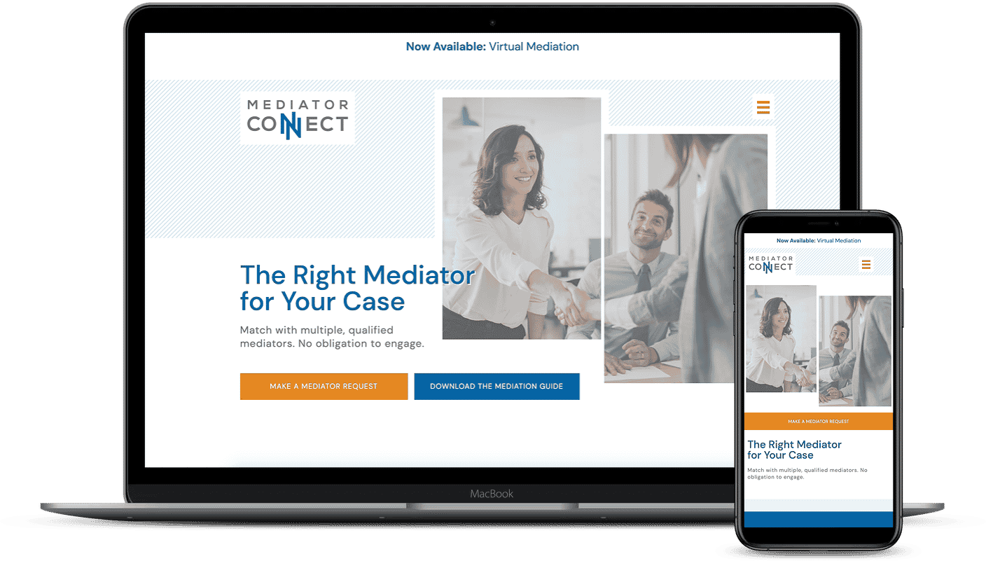Screenshot of Mediator Connect's homepage displayed on desktop and mobile screens