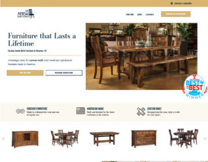 After screenshot of The Amish Craftsman Furniture's website.