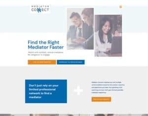 After screenshot of Mediation Connect's website.