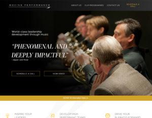 Screenshot of Moving Performance's website homepage.