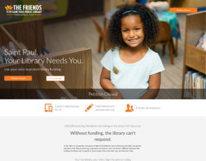 Screenshot of a landing page Banker Creative designed and built for The Friends of The Saint Paul Library.