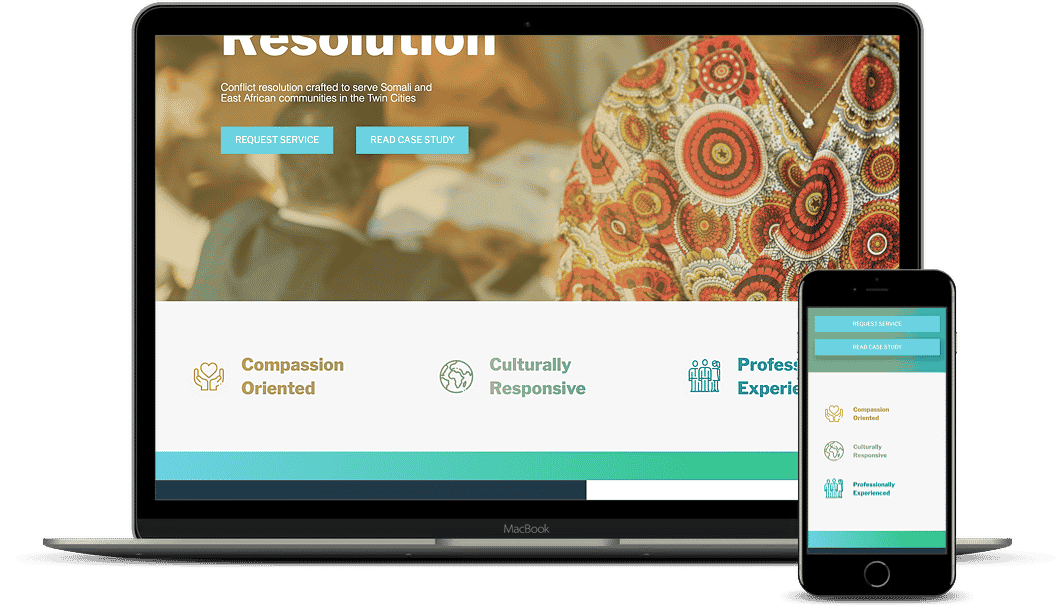 An example of a website using icons to communicate the organization's top values. Desktop and mobile versions.