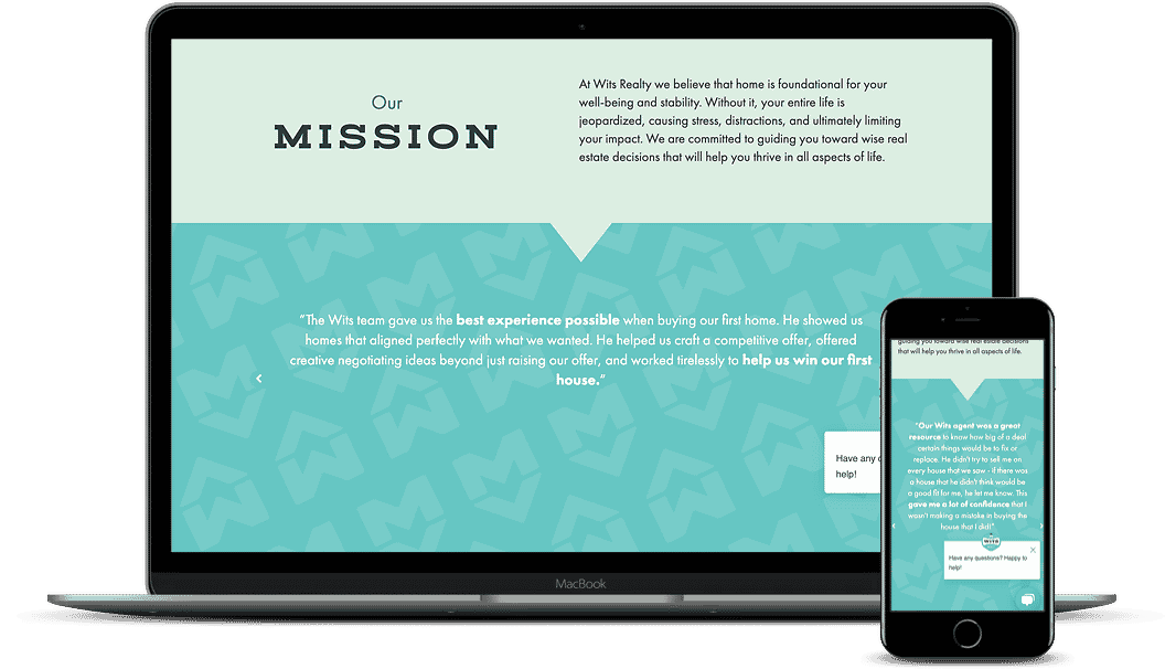 An example of a website using testimonies to establish authority. Desktop and mobile versions.