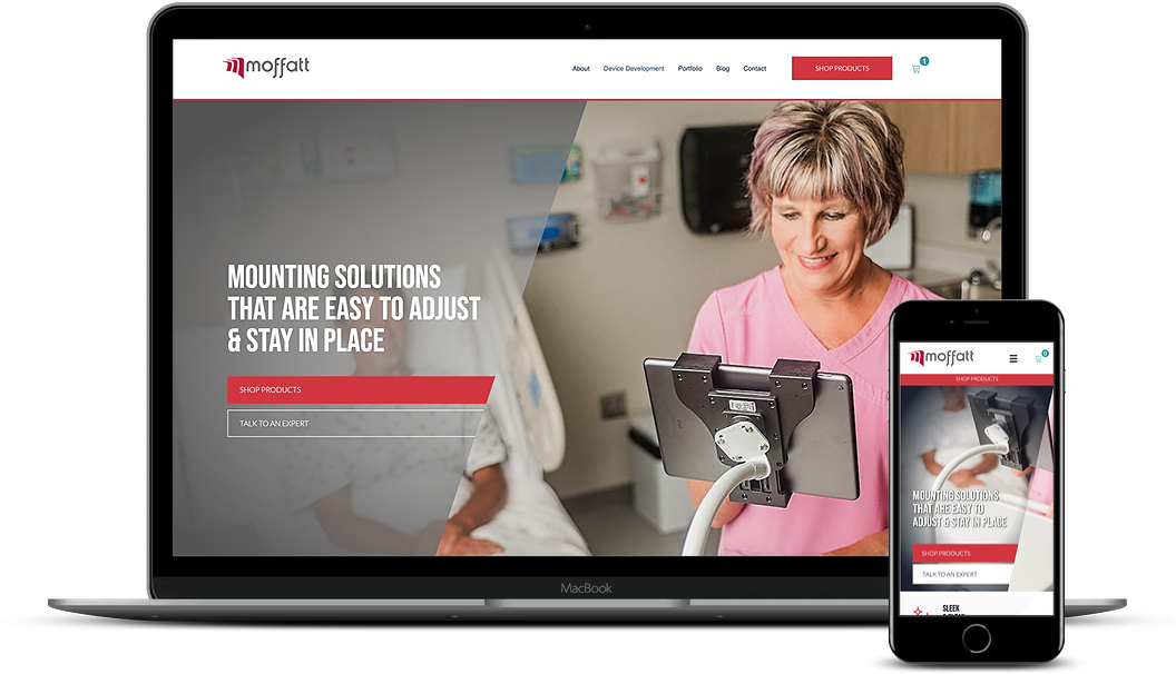 An example of a Moffatt Products' website. Desktop and mobile versions.