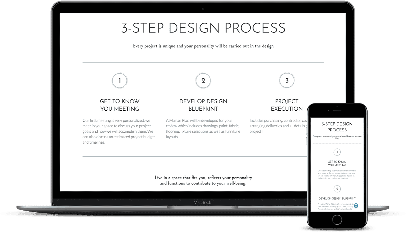 An example of a website using a three step process to communicate with clients. Desktop and mobile versions.