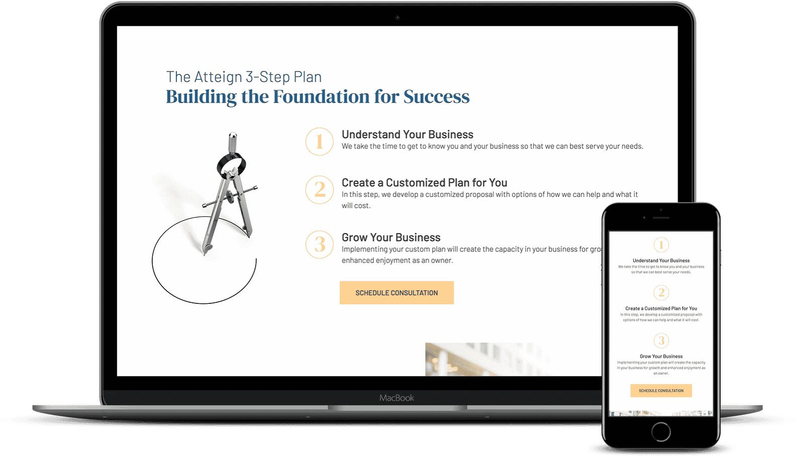 An example of a website using a three step plan to clarify their message to their clients. Desktop and mobile versions.