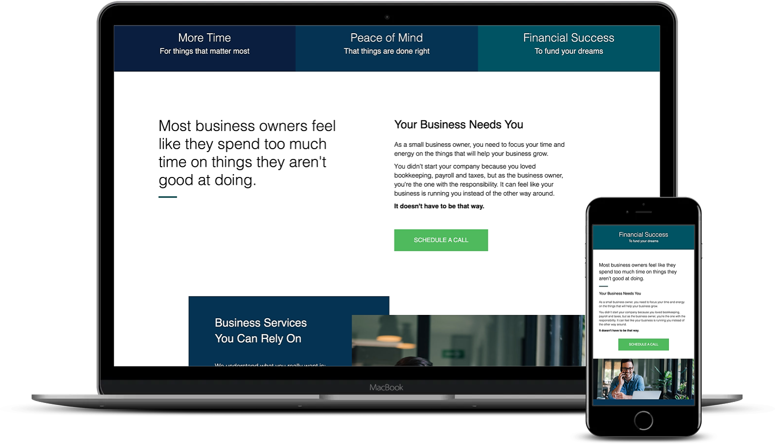 An example of a website using headers, columns, and buttons to communicate with clients. Desktop and mobile versions.